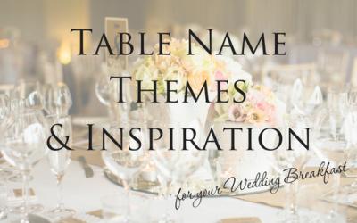 Wedding Breakfast Table Name Themes & Inspiration