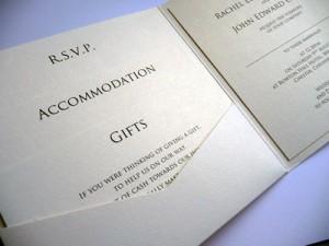 Pocketcard wedding invitation with Trajan Pro font