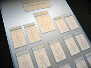 Silver and Cornflower Blue portrait Table Plan board