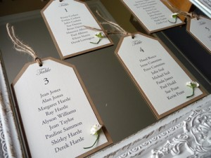 Luggage Tag shaped Seating Plan cards on a mirror