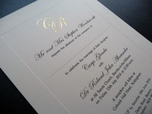 Wedding invitation with Gold Foiled initials