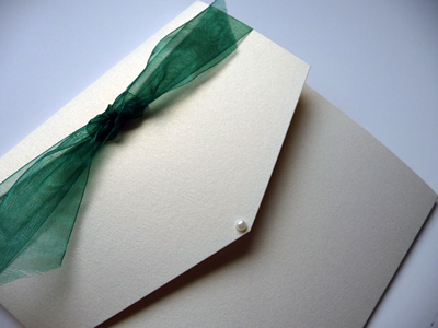 Ivory portrait pocketfold with jade knotted ribbon and round pearl
