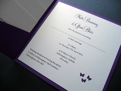 Purple pocketcard wedding invitation with lilac ribbon and a butterfly theme