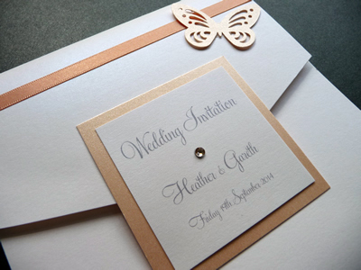 Peach and White pocketfold with a plaque and butterfly theme