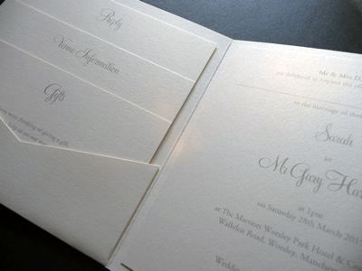 Ivory pocketcard wedding invitation with 3 loose inserts