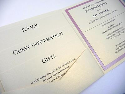 Ivory and dusky pink pocketcard wedding invitation