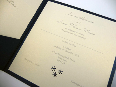 Navy pocketcard wedding invitation with a snowflake theme and 3 loose inserts