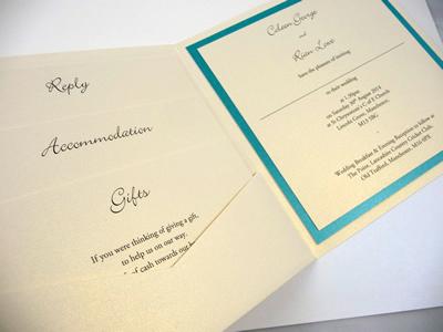 Ivory and turquoise pocketcard wedding invitation