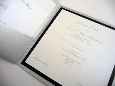 Silver pocketcard wedding invitation with a black colour scheme