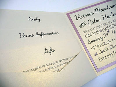 Ivory pocketcard wedding invitation with a dusky pink colour scheme and a contemporary style wording