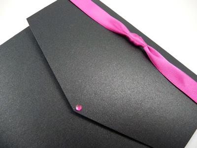 Black portrait pocketfold with fuchsia pink knotted ribbon