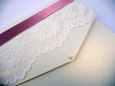 Ivory portrait pocketfold with lace and dusky pink ribbon