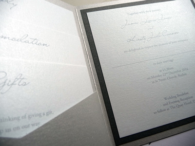 Silver pocketcard wedding invitation with a charcoal grey colour scheme