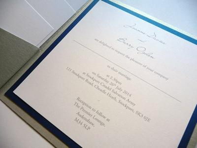 Silver pocketcard wedding invitation with a navy colour scheme