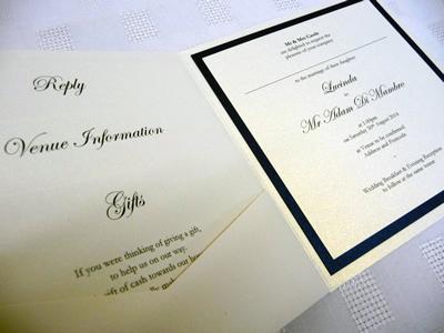 Ivory and navy pocketcard wedding invitation