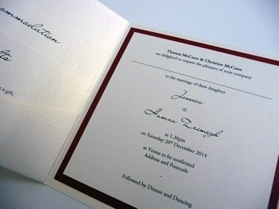 Red and ivory pocketcard wedding invitation