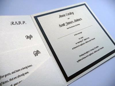 Black and ivory pocketcard wedding invitation