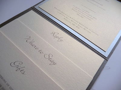 Charcoal portrait pocketfold invitation with lace and charcoal grey ribbon