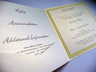 Yellow and ivory pocketcard wedding invitation