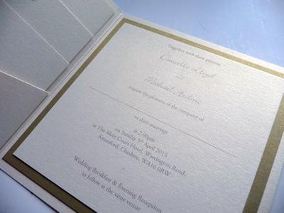 Ivory and gold pocketcard wedding invitation