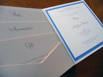 Ivory and cornflower blue pocketcard wedding invitation