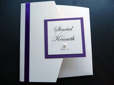 Ivory landscape pocketfold wedding invitation with a purple colour scheme