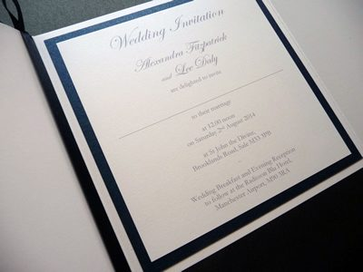 White and navy gate fold wedding invitation