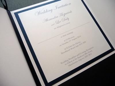 White and navy gate fold wedding invitation