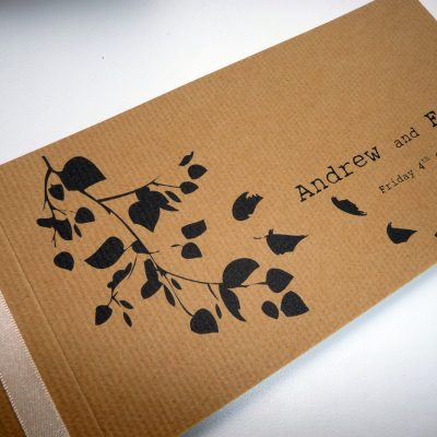 Rustic cheque book with leaf design