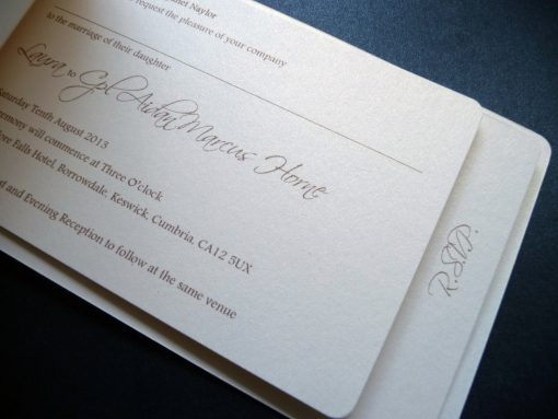 Cheque book wedding invitation with 2 pages staggered inside