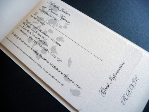 Rustic cheque book with leaf design with ivory inserts
