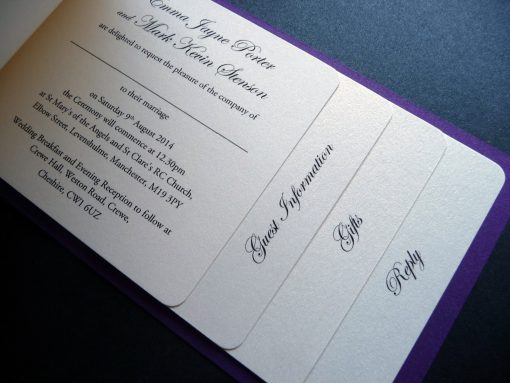 Ivory and purple cheque book invitation with 4 pages inside