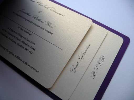Cheque book wedding invitation with 3 pages inside and a purple back cover