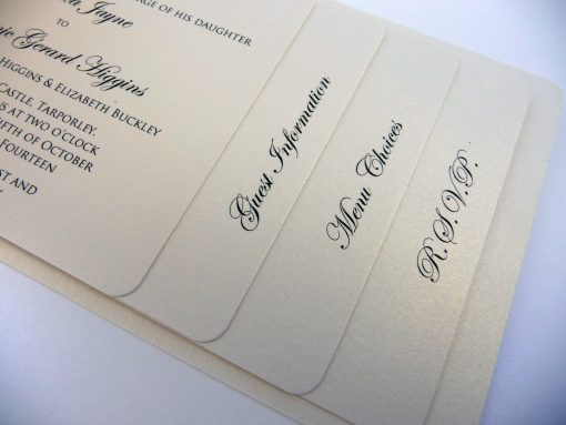 Ivory pearlised cheque book wedding invitation with 4 staggered pages inside