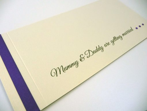 Ivory and Purple cheque book invitation with Mummy & Daddy are getting married wording