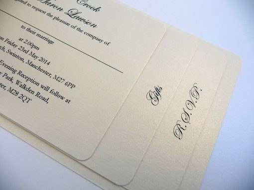 Cheque Book style wedding invitation with 3 insert pages