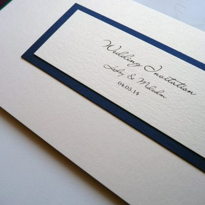 Cheque book invitation with flat ribbon and a plaque