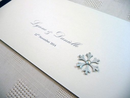 Navy and white cheque book with a silver snowflake detail