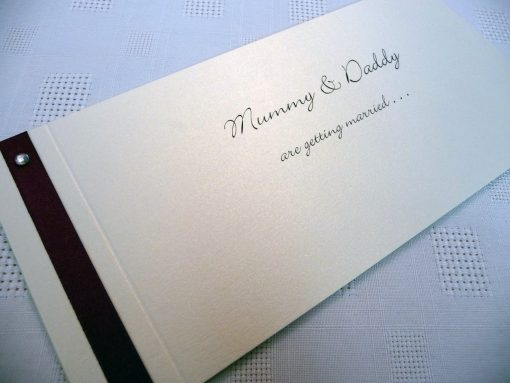 Mummy ans Daddy are getting married wedding invitations with flat ribbon