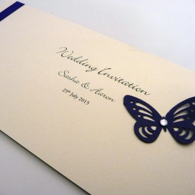 Purple and ivory butterfly theme cheque book invitation