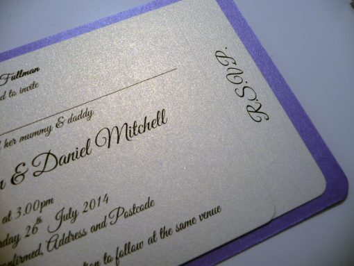 Lilac and ivory cheque book with 2 pages