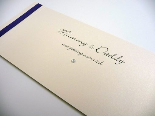 Ivory and Navy flat ribbon cheque book with mummy and daddy theme wording