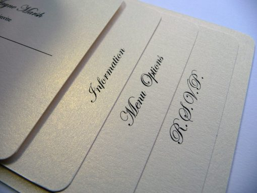 Ivory cheque book wedding invitation for 4 insert pages