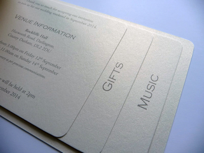 Ivory cheque book wedding invitation with 3 pages inside