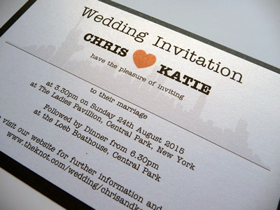 Black and White New York themed flat invitations