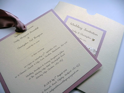 Dusky pink and ivory square wallet double mounted invitation inside