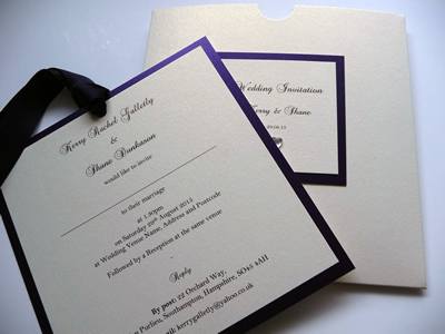 Purple and ivory wallet with plaque and double mounted invitation