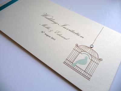 Birdcage theme cheque book wedding invitation with flat ribbon