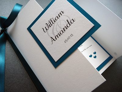White & Teal gate fold wedding invitation with a plaque and heart theme