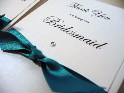Jade and Ivory Bridal Party Thank You card with knotted ribbon